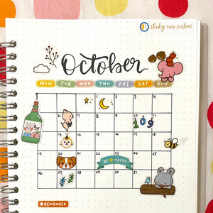 Monthly Calendar with Stickers