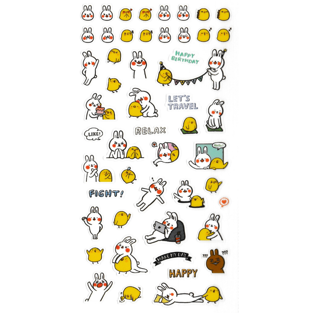 S1044 - Lazy Rabbit & Mr. Chu - Planner Sticker