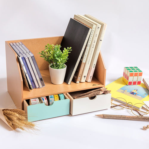 2 Drawer Desk Organizer/Bookcase (Wooden)