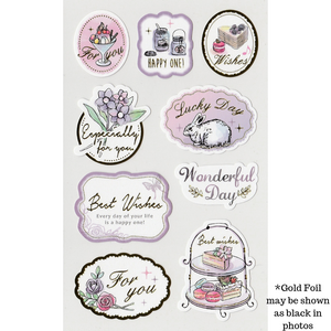 S1121 - Gold Foil Gifting Sticker - Sweet Purple