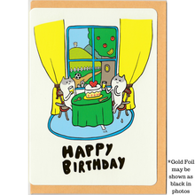 Load image into Gallery viewer, C1036 - Kitty Birthday (Gold Foil) *standard card