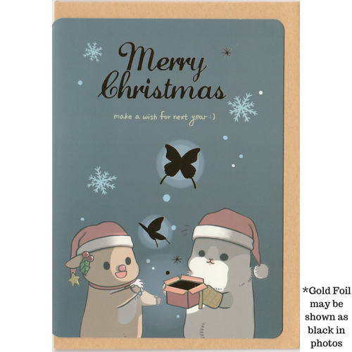 C1039 - Machiko Bunny - Merry Christmas (Gold Foil) *standard card