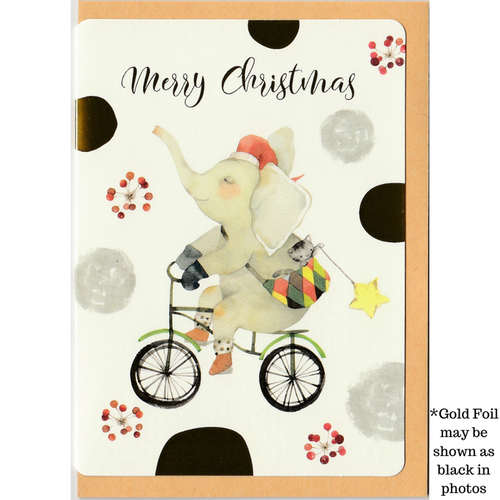 C1038 - Christmasy Elephant (Gold Foil) *standard card
