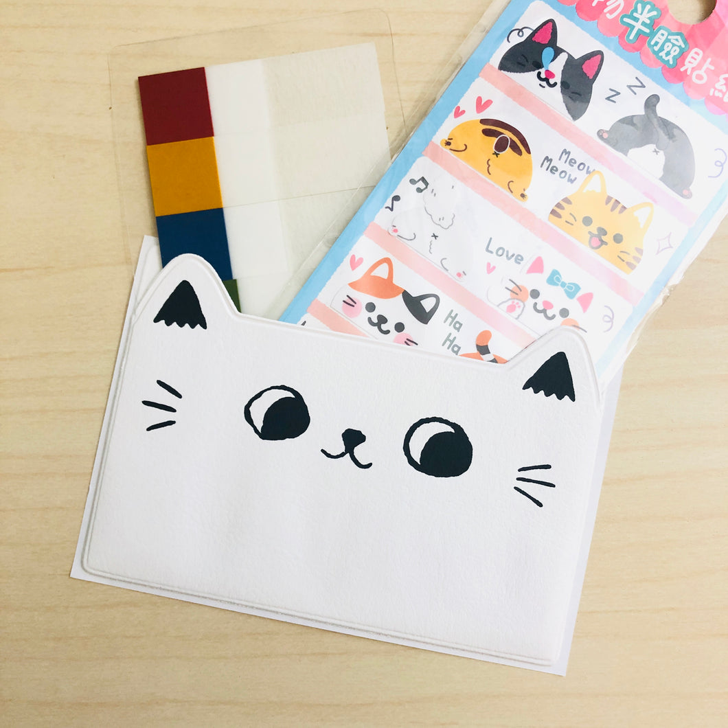 Cat Ears Adhesive Pockets - White