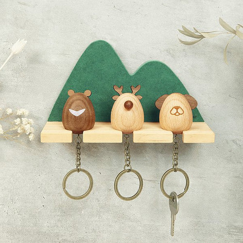 Lucky Animals Key Rack & Keychains (Wooden)