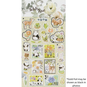 S1110 - Watercolor White Roses (Gold Foil)