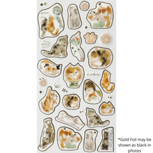 Load image into Gallery viewer, S1112 - Liang Feng - Watercolor Cat (Gold Foil)