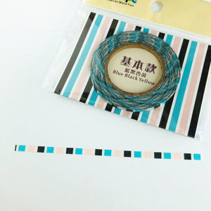 W1034 - Blue and Black Stripes *3mm washi tape