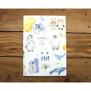 Watercolor Penguin Notebook *grid