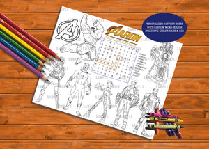 Activity & Coloring Sheets Personalized - Printed ONLY (Please Read Item Description)