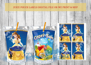 Beauty and the Beast Juice Pouch Labels