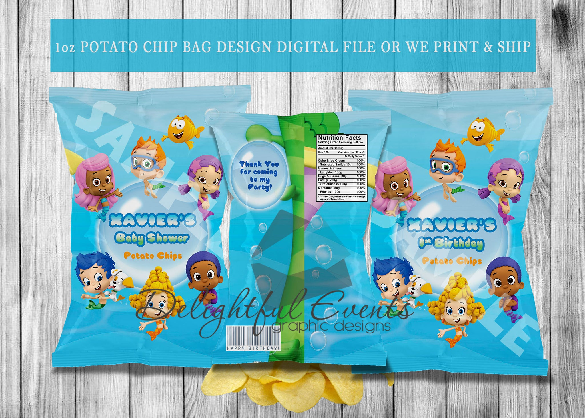 Chip Bags Birthday or Baby Shower - Digital ONLY (Please Read Item  Description)