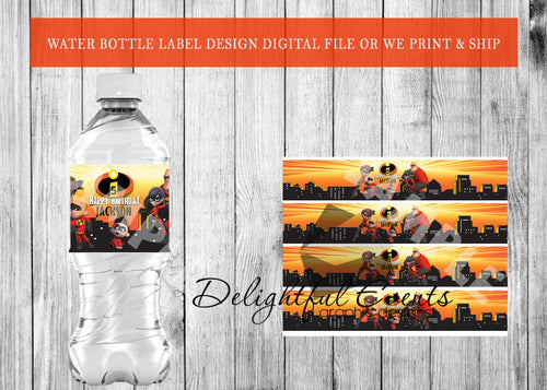 Incredibles Water Bottle Labels