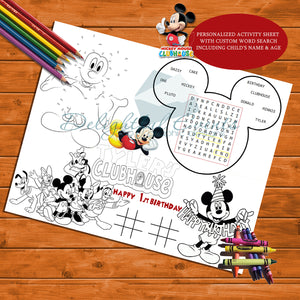 Mickey Mouse Activity Sheet