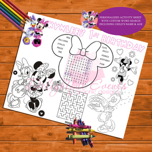 Minnie Mouse Activity Sheets
