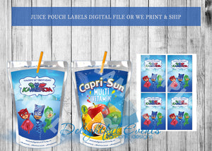 PJ Masks Juice Pouch Labels