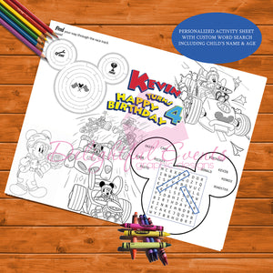 Mickey Roadsters Activity Sheet
