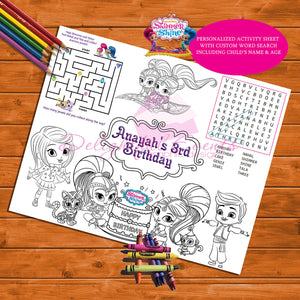 Shimmer & Shine Activity Sheet