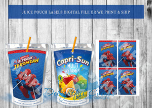 Spiderman Juice Pouch Labels