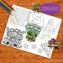 Load image into Gallery viewer, Ninja Turtle Activity and Coloring Sheet