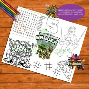 Ninja Turtle Activity and Coloring Sheet