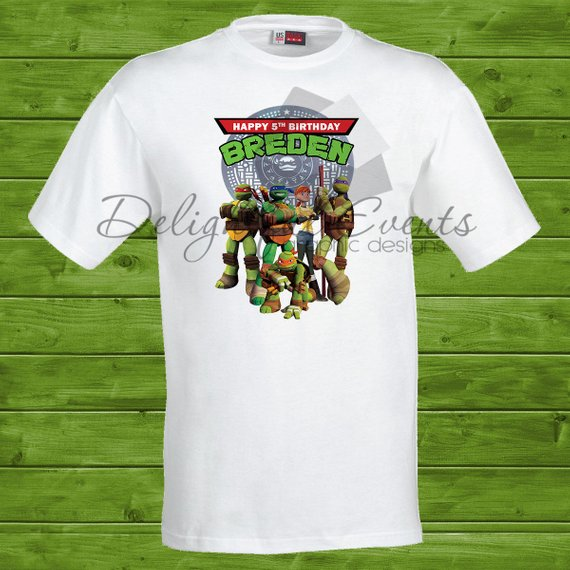 Load Image Into Gallery Viewer Ninja Turtles Birthday T Shirts Design Only No
