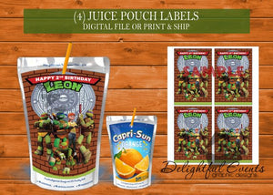 Ninja Turtle Juice Pouch Labels