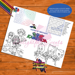PJ Masks Activity Sheet