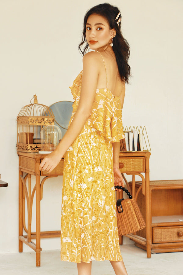 Yellow Floral Ruffled Cami  Dress
