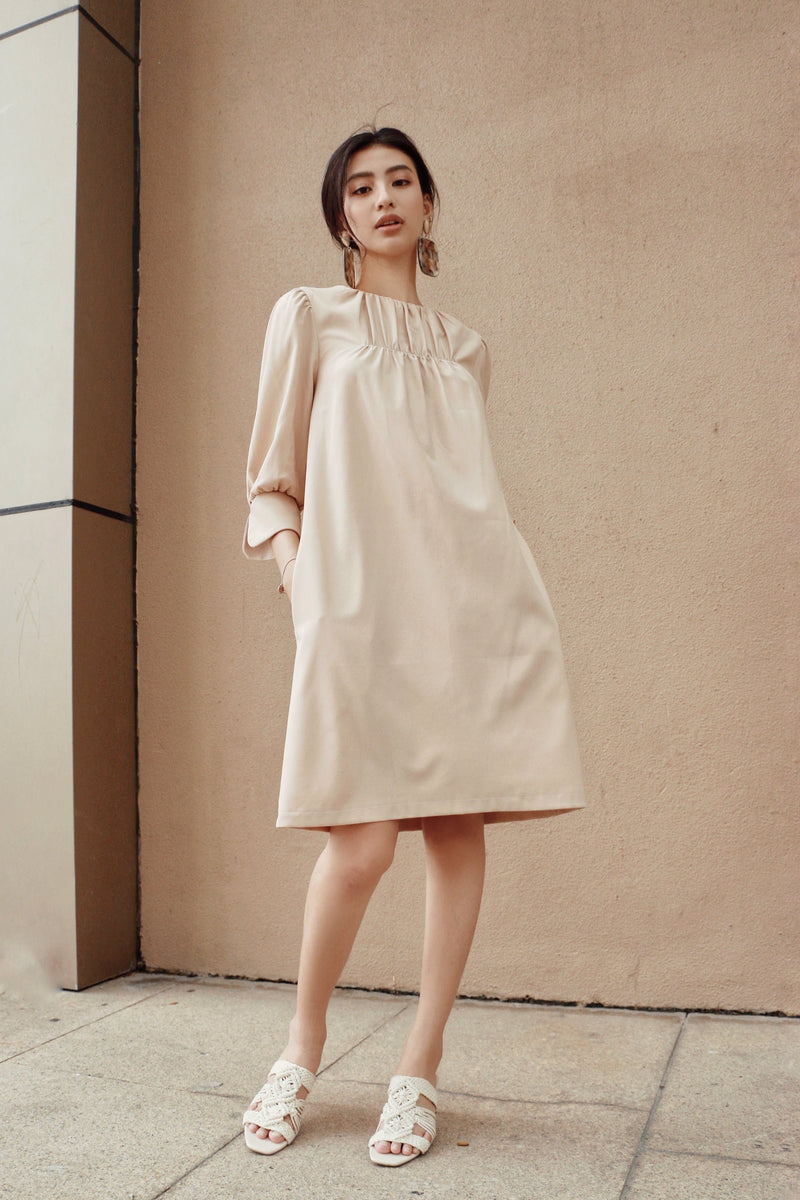 Beige Long-Sleeved Frilled Dress