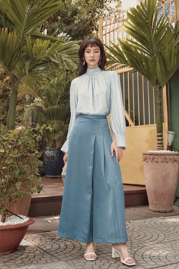 Blue Wrap Pleated Trousers