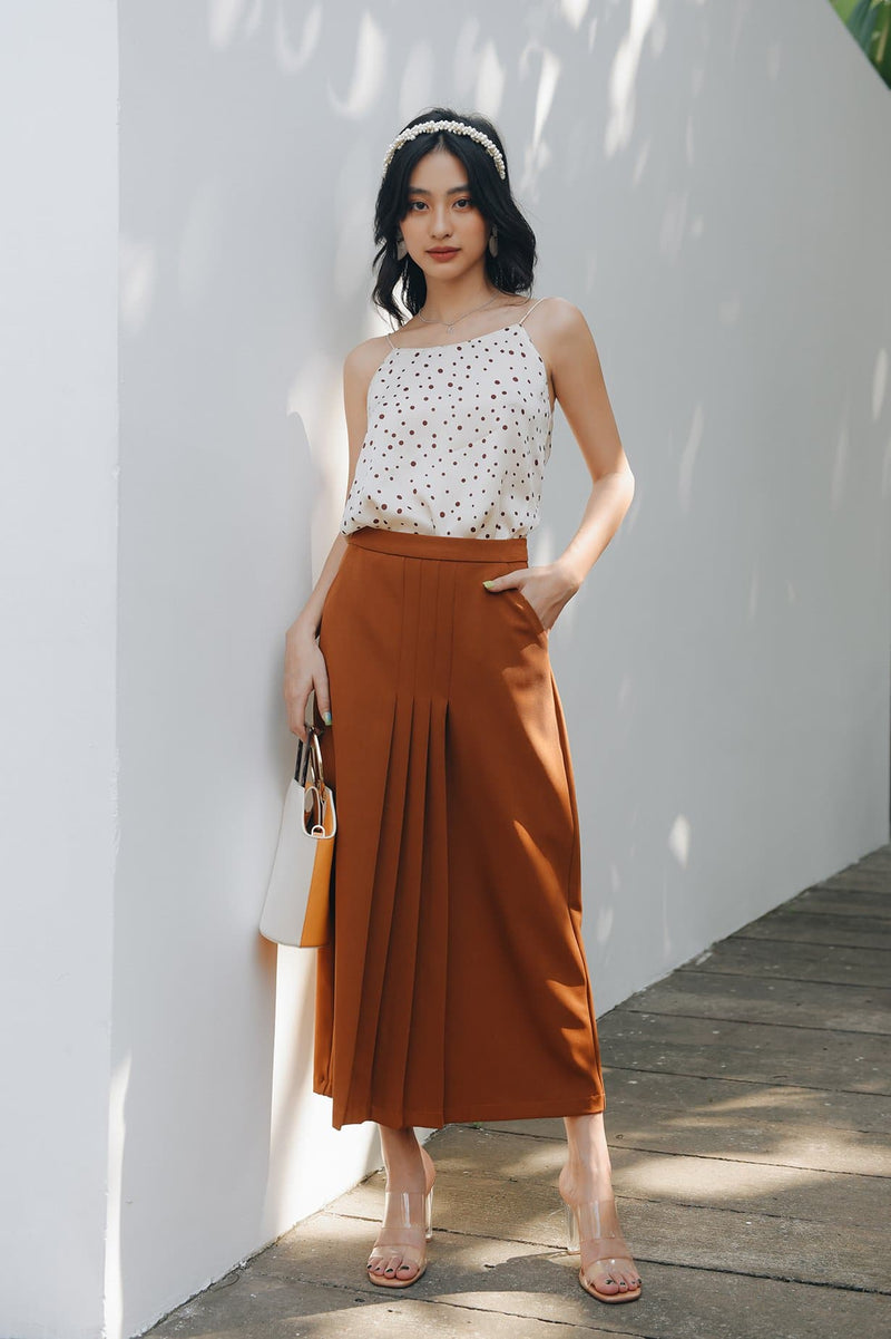 Burnt Orange Front Pleat Skirt