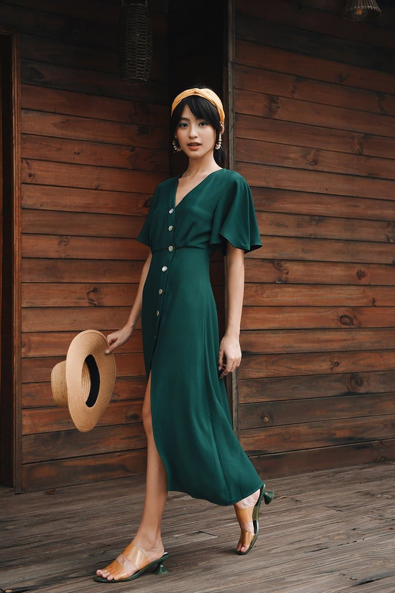 Green Ruffle-Sleeved Slit Dress