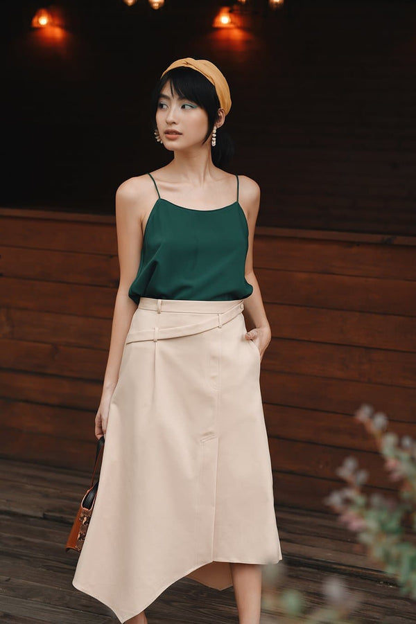 Beige High-Low Skirt
