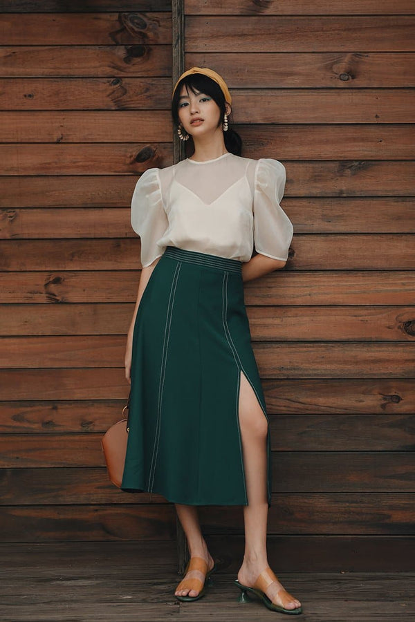 Green Slit Skirt