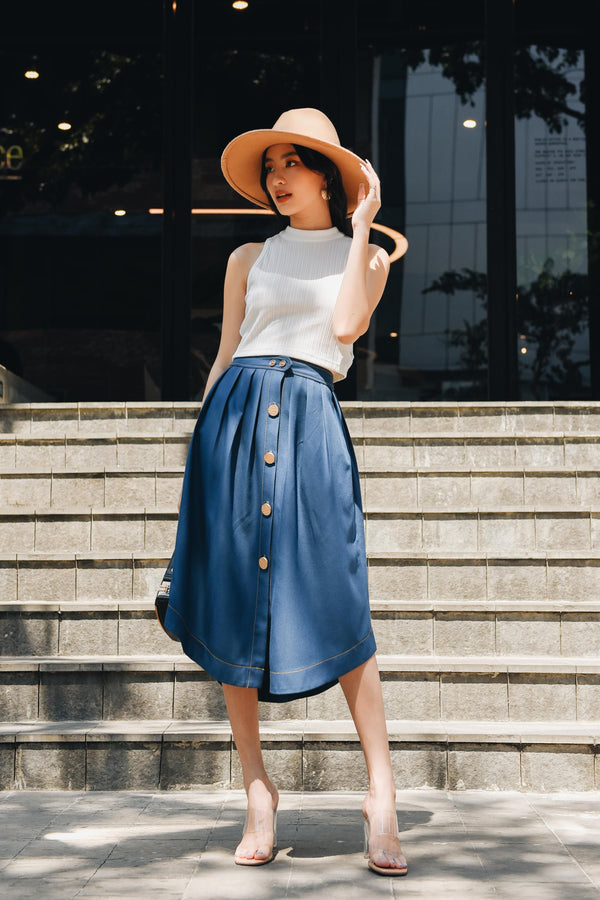 Blue Button-down Pleated Skirt