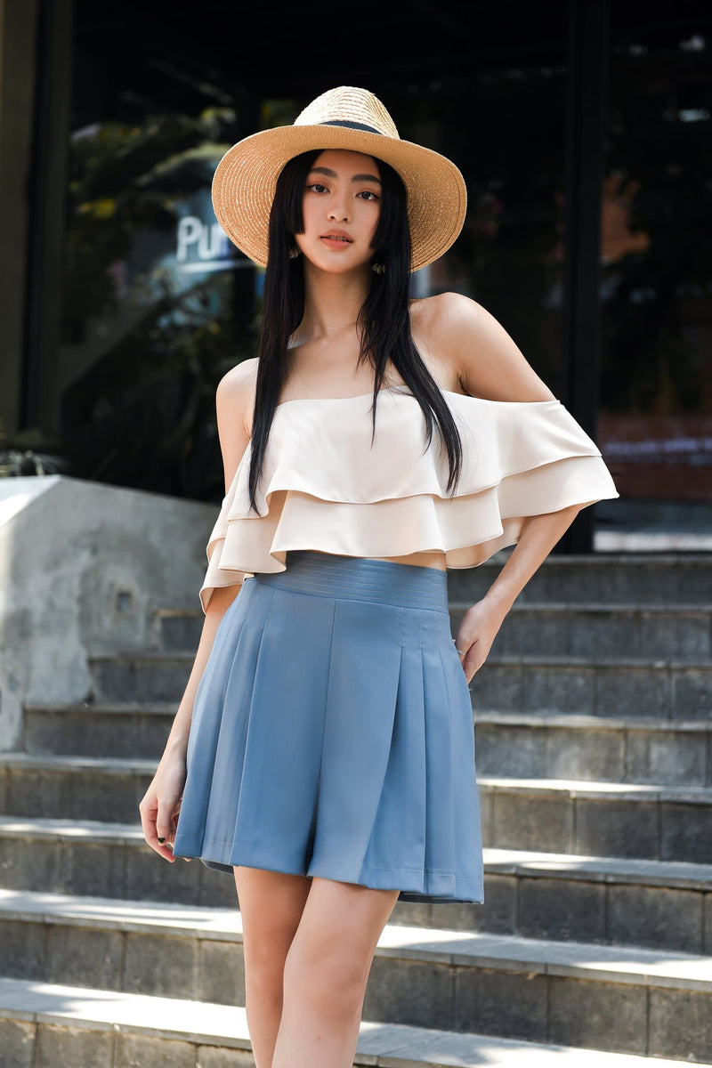 Classic Blue Pleated Shorts