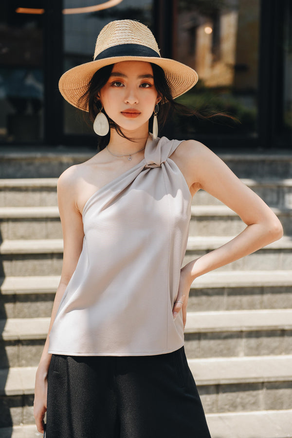 Grey One-Shoulder Twisted Top