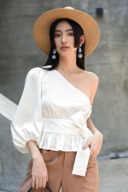 White One-Shoulder Puff Sleeve Top