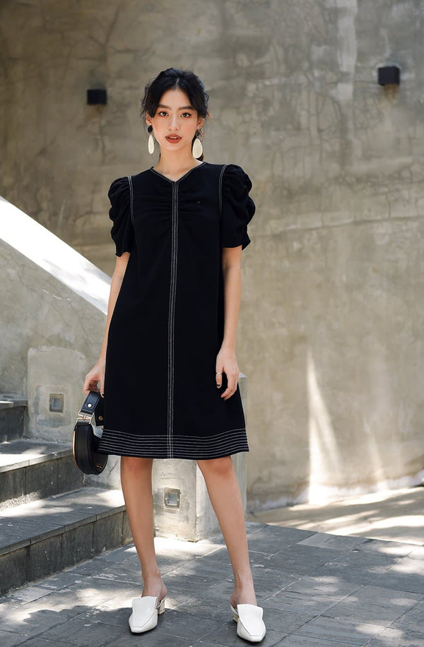 Black Frilled Puff Sleeve Dress