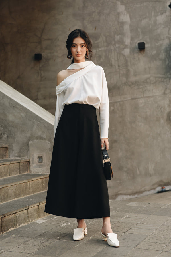 White Cut-out Off-Shoulder Top