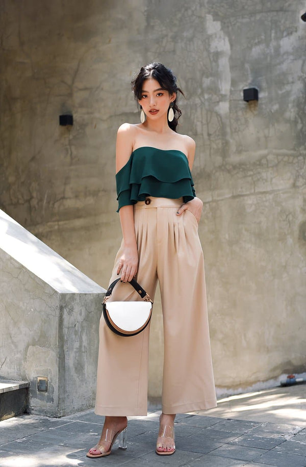 Green Ruffle Layered Off-Shoulder Top