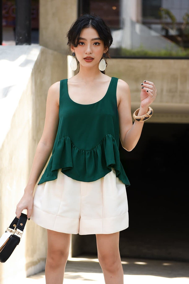 Green Sleeveless Frilled Top