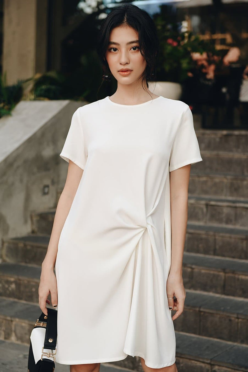 White Twist Short Sleeve Dress