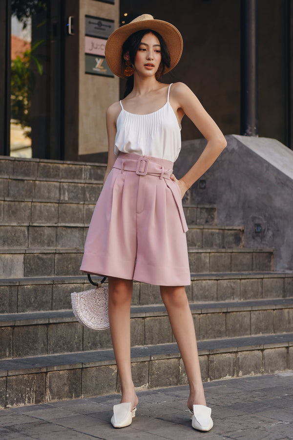 Pink Wide-Leg Belted Shorts