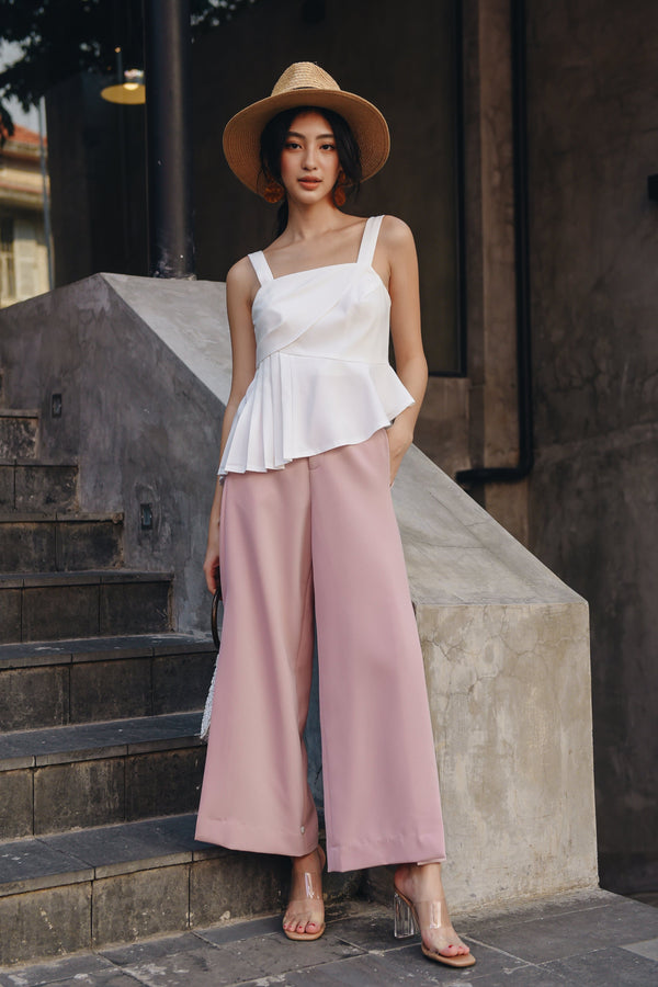 Pink Straight Leg Trousers With Slit-Sides