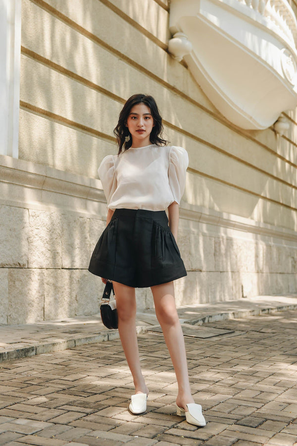 Black Frilled Pocket Shorts