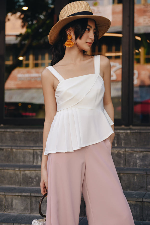 White Pleat-Combined Cami Top