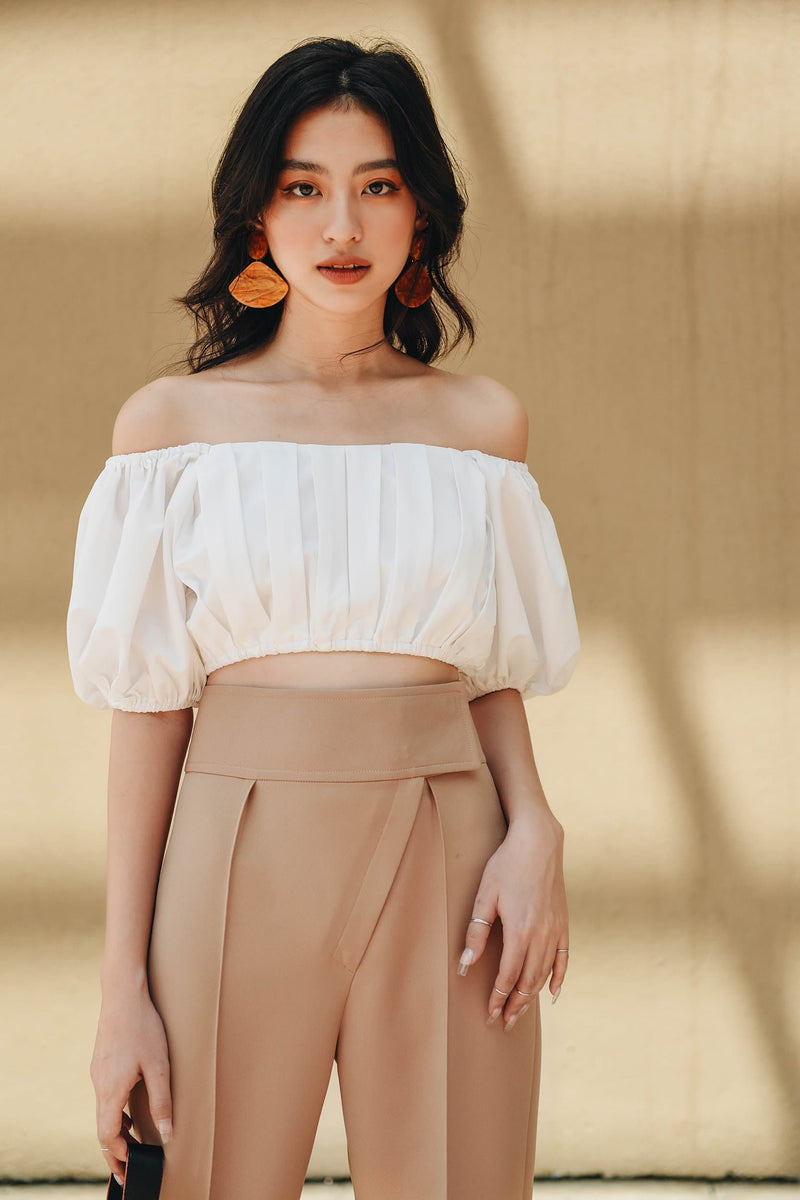 White Puff Sleeve Off-shoulder Top