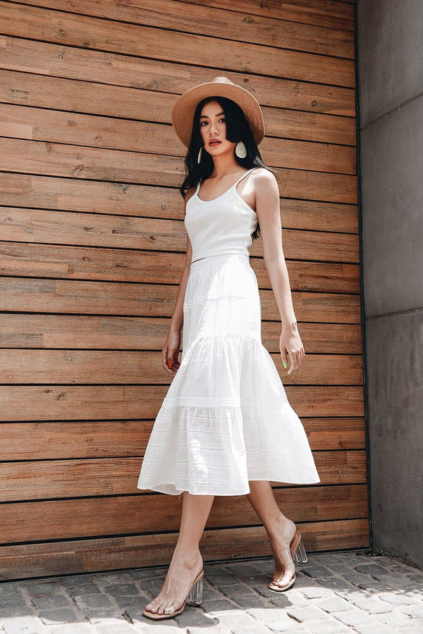 White Embroidered Frilled Skirt